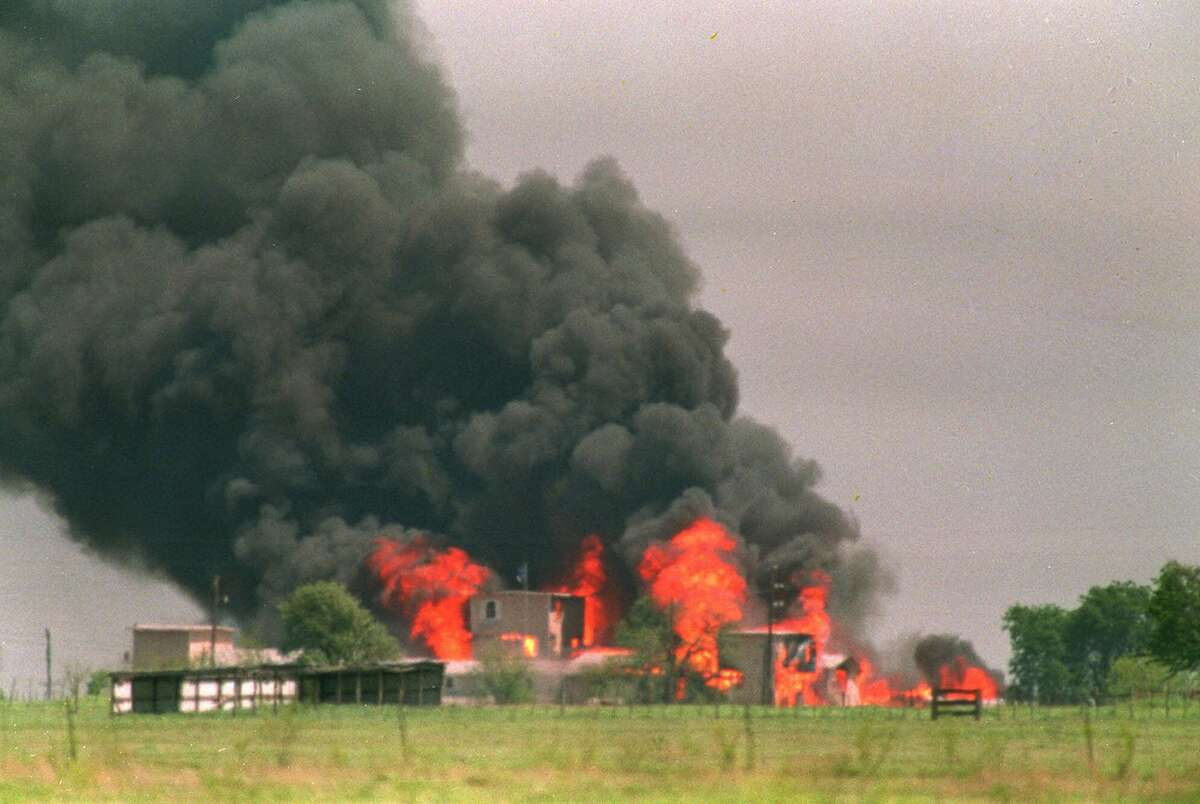 FILE--The Branch Davidian compound in Waco, Texas, is shown engulfed by flames in this April 20, 1993, file photo. Federal marshals were dispatched Wednesday to the FBIé?•s headquarters to impound previously undisclosed evidence in the 1993 assault by federal agents on the Branch Davidian compound, Justice and FBI officials said Wednesday night. (AP Photo/Susan Weems, File)