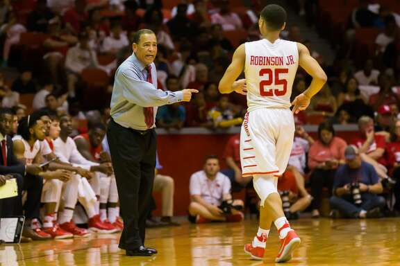 February 18, 2017:  Houston Cougars head coach Kelvin Sampson talks to Houston Cougars guard Galen Robinson Jr. (25) during the Men's basketball game between the Southern Methodist Mustangs and Houston Cougars on February 18, 2017 at Hofheinz Pavilion in Houston, Texas.  (Leslie Plaza Johnson/Freelance)