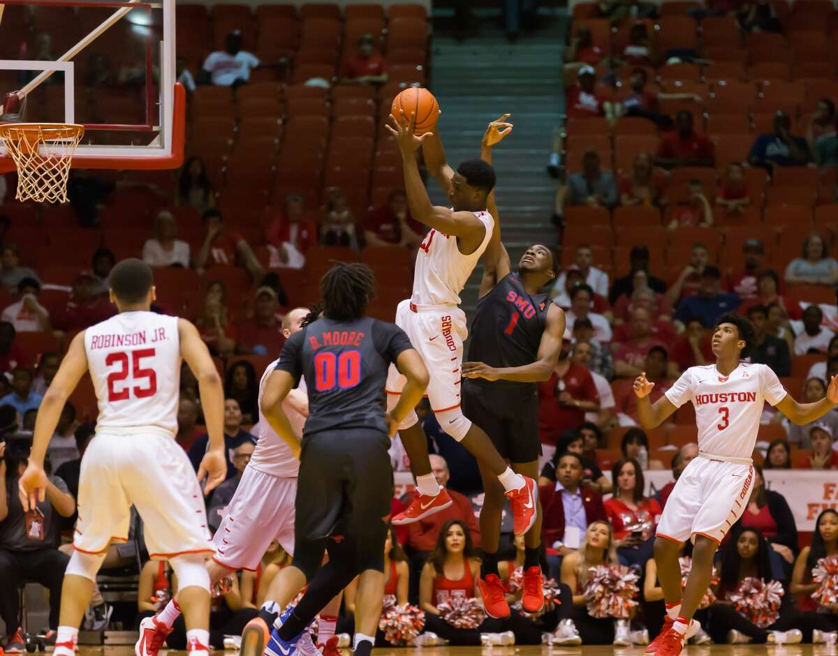 February 18, 2017: Houston Cougars guard Damyean Dotson (21) tallied 8 points during the Men's basketball game between the Southern Methodist Mustangs and Houston Cougars on February 18, 2017 at Hofheinz Pavilion in Houston, Texas. (Leslie Plaza Johnson/Freelance)