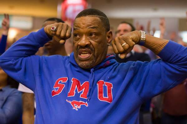 February 18, 2017:  Southern Methodist fan flexes his muscles in celebration of the Mustangs win, 76-66 during the Men's basketball game between the Southern Methodist Mustangs and Houston Cougars on February 18, 2017 at Hofheinz Pavilion in Houston, Texas.  (Leslie Plaza Johnson/Freelance)