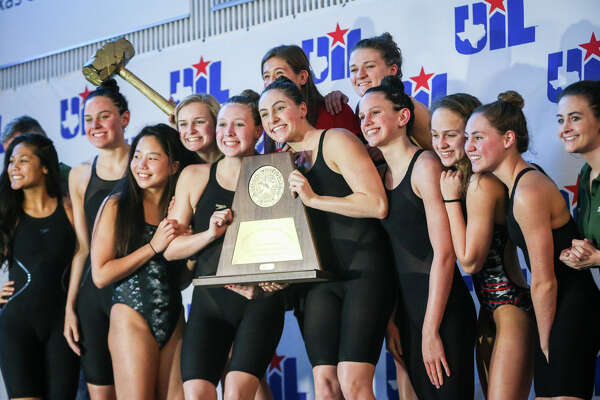 The Woodlands girls team wins first place overall during the Class 6A UIL Swimming and Diving State Meet on Saturday, Feb. 18, 2017, in Austin. (Michael Minasi / Chronicle)