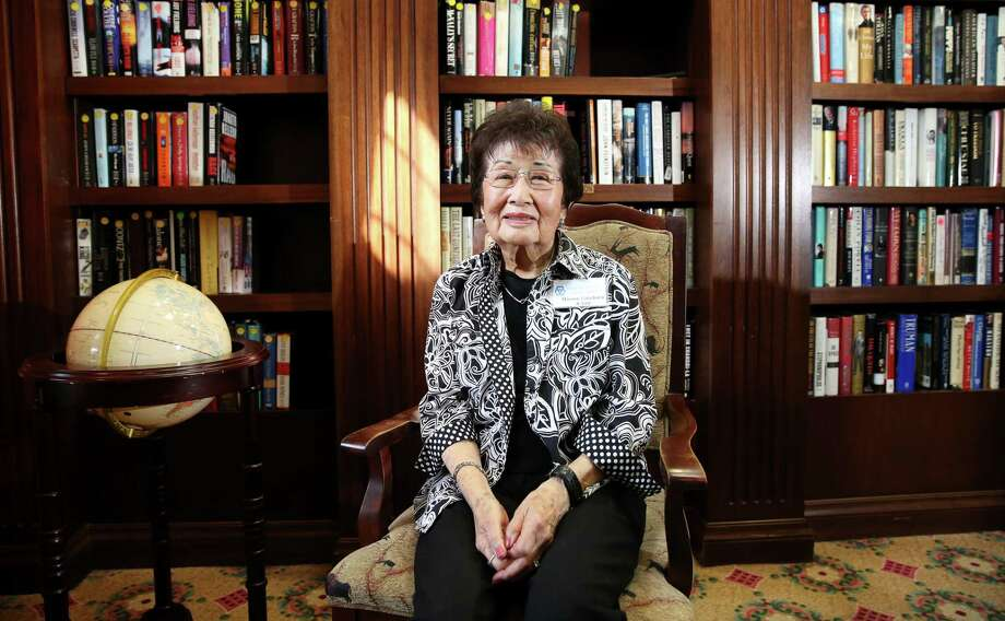 Marion Takehara, a 91-year-old survivor of the internment of Japanese Americans during World War II, poses for a photo at the community library of her apartment Saturday, Feb. 18, 2017, in Houston. ( Yi-Chin Lee / Houston Chronicle ) Photo: Yi-Chin Lee, Staff / © 2017  Houston Chronicle