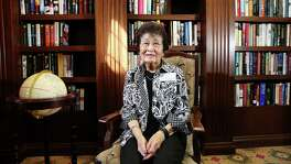 Marion Takehara, a 91-year-old survivor of the internment of Japanese Americans during World War II, poses for a photo at the community library of her apartment Saturday, Feb. 18, 2017, in Houston. ( Yi-Chin Lee / Houston Chronicle )