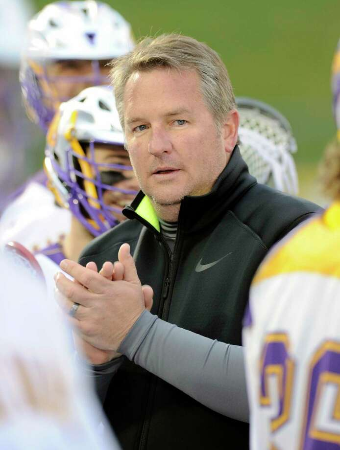 UAlbany's head coach Scott Marr instructs his players against Siena during an NCAA Division I college men's lacrosse game on Tuesday, April 26, 2016, in Albany, N.Y. (Hans Pennink / Special to the Times Union) ORG XMIT: HP110 Photo: Hans Pennink / Hans Pennink