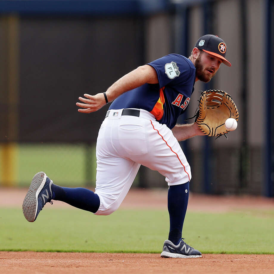 A long shot to make the opening-day roster for the Astros, first baseman Tyler White has been taking reps at third base as well. Photo: Karen Warren, Staff Photographer / 2017 Houston Chronicle