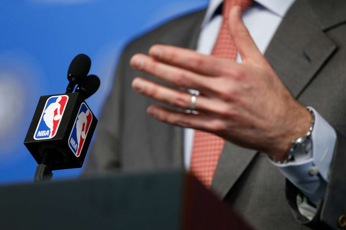 NEW ORLEANS, LA - FEBRUARY 18: A detailed view of the microphone as NBA Commissioner Adam Silver speaks with the media during a press conference at Smoothie King Center on February 18, 2017 in New Orleans, Louisiana. NOTE TO USER: User expressly acknowledges and agrees that, by downloading and/or using this photograph, user is consenting to the terms and conditions of the Getty Images License Agreement. (Photo by Jonathan Bachman/Getty Images)