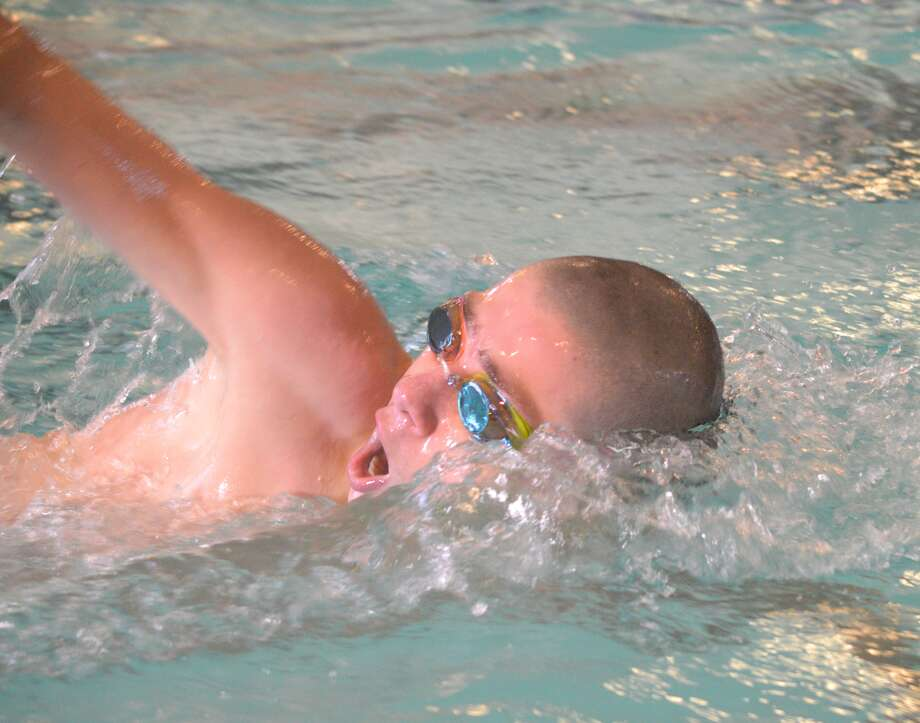 Edwardsville freshman Matt Doyle competes in the 200-yard freestyle on Saturday at the Springfield Sectional at Eisenhower Pool in Springfield.