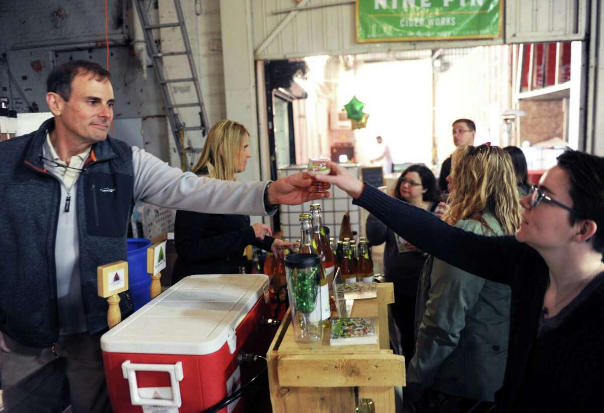 Roughly 800 people were in Albany, N.Y. Feb. 18, 2017 for an event at Nine Pine Cider that brought together 15 different cider producers. The even followed years of growth of the cider market in New York, which because of its location and variety of apples is one of the best states in the nation for the product. (Robert Downen / Times Union)