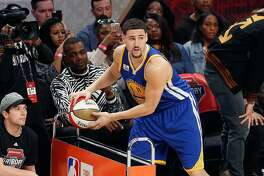 NEW ORLEANS, LA - FEBRUARY 18:  Klay Thompson #11 of the Golden State Warriors competes in the 2017 JBL Three-Point Contest at Smoothie King Center on February 18, 2017 in New Orleans, Louisiana. NOTE TO USER: User expressly acknowledges and agrees that, by downloading and/or using this photograph, user is consenting to the terms and conditions of the Getty Images License Agreement.  (Photo by Jonathan Bachman/Getty Images)