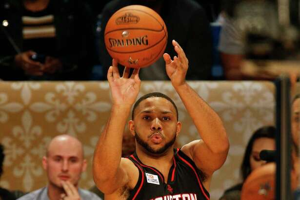 Rockets guard Eric Gordon fires away during the 3-point shootout as part of the NBA All-Star Saturday events in New Orleans.