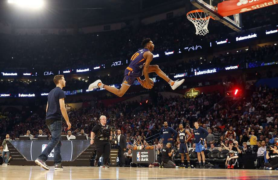 Indian Pacers Glenn Robinson III participates in the slam dunk contest during NBA All-Star Saturday Night events in New Orleans, Saturday, Feb. 18, 2017. (AP Photo/Gerald Herbert) Photo: Gerald Herbert, Associated Press