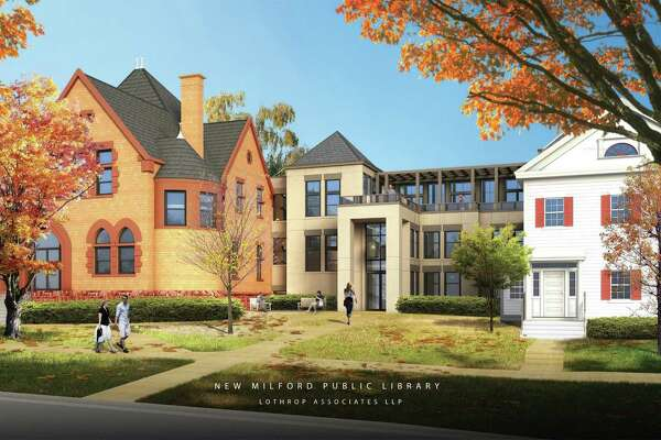 Architect's rendering of the renovation design for the New Milford Library.