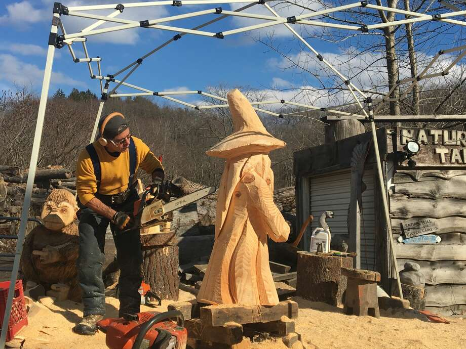 Sergio Atanasoff details a wizard sculpture at his shop, In the  Spirit of Wood, in Ridgefield, Conn. on January 29, 2017. Photo: Lidia Ryan