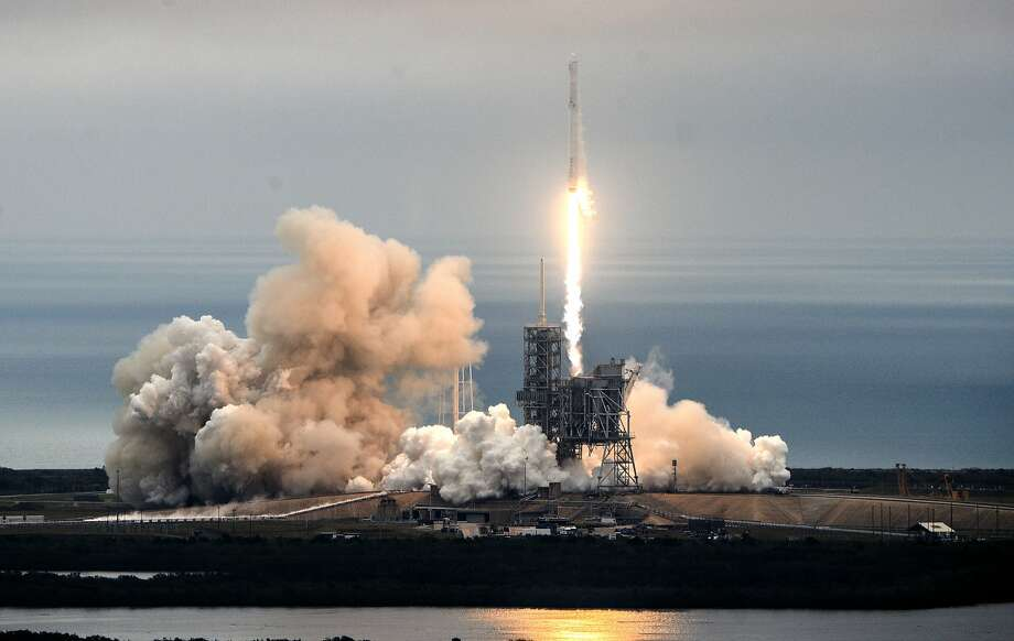 The SpaceX Falcon 9 rocket launches from the Kennedy Space Center in Florida, carrying 5,500 pounds of supplies for the International Space Station. Photo: Craig Bailey, Associated Press