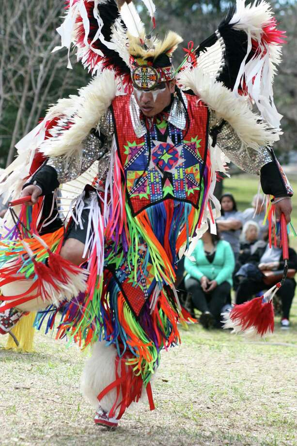 Marcus Thompson performs on the grounds of the State Capitol in Austin for Alabama-Coushatta Tribe of Texas Day on Feb. 15. Photo: Vanesa Brashier