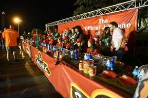 21 contestants endure the La Costena Jalapeno Eating Contest on Saturday, February 18, 2017 at El Metro Park and Ride during the La Costena Jalapeno Festival.