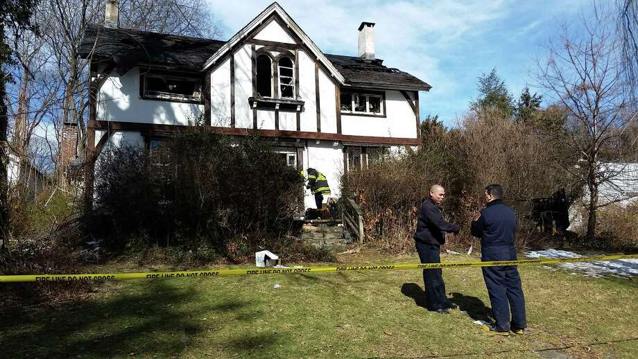 An elderly woman died in a fire at a house on Bettswood Road in Norwalk Sunday morning. Photo: The Hour / Alex Von Kleydorff
