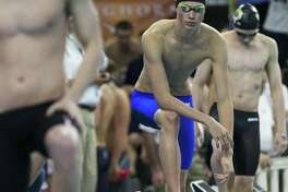 Reagan's Zach Yeadon prepares to compete in the 200-yard Freestyle during finals of the Class 6A UIL Swimming and Diving State Championships at the Jamail Texas Swim Center in Austin Saturday, Feb. 18, 2017. (Stephen Spillman / for San Antonio Express-News)