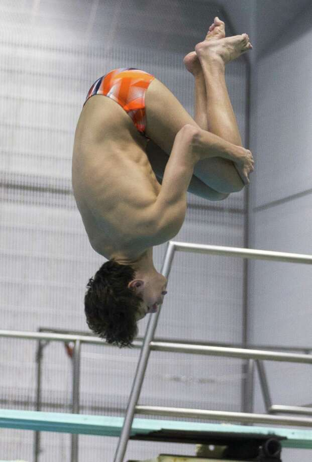 Brandeis' Jake Nelms competes in the 1-meter diving during finals of the Class 6A UIL Swimming and Diving State Championships at the Jamail Texas Swim Center in Austin Saturday, Feb. 18, 2017. (Stephen Spillman / for San Antonio Express-News) Photo: Stephen Spillman / Stephen Spillman / stephenspillman@me.com Stephen Spillman