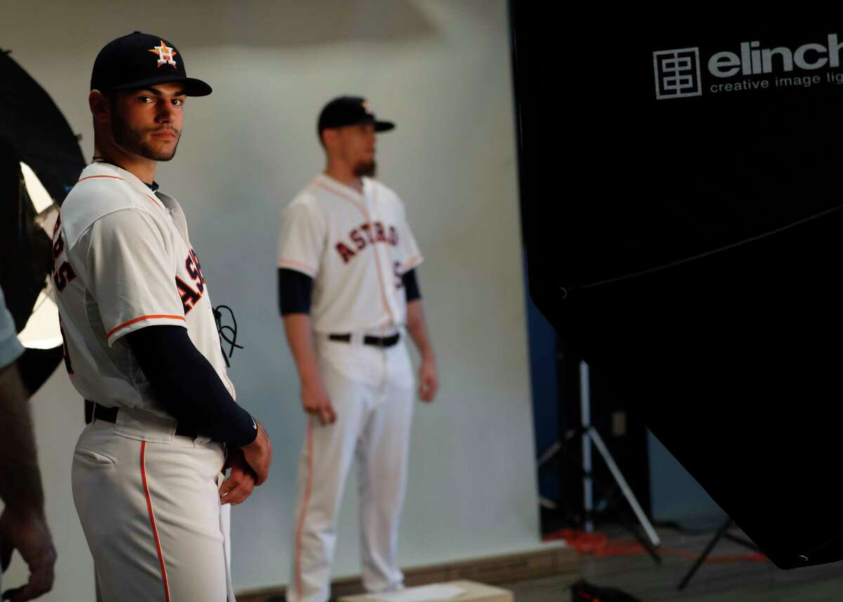Houston Astros starting pitcher Lance McCullers waits his turn in line for photos during photo day at spring training at The Ballpark of the Palm Beaches, in West Palm Beach, Florida, Sunday, February 19, 2017.