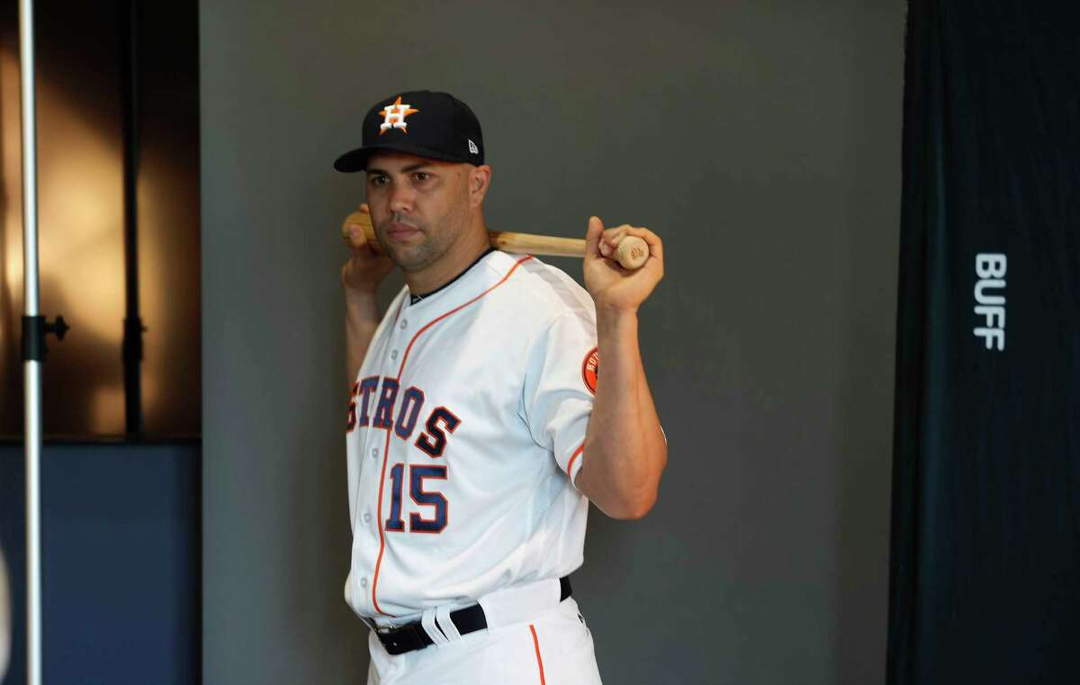 Houston Astros Carlos Beltran (15) poses for a photo for a photographer during photo day at spring training at The Ballpark of the Palm Beaches, in West Palm Beach, Florida, Sunday, February 19, 2017.