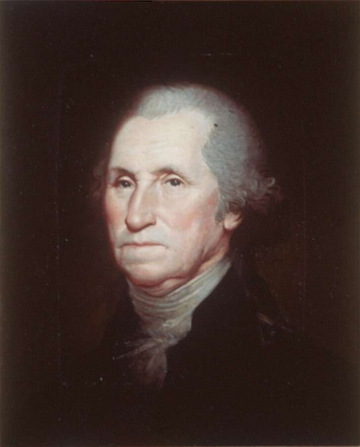 President George Washington is seen in a 1795 oil painting by Rembrandt Peal.  (AP File Photo)