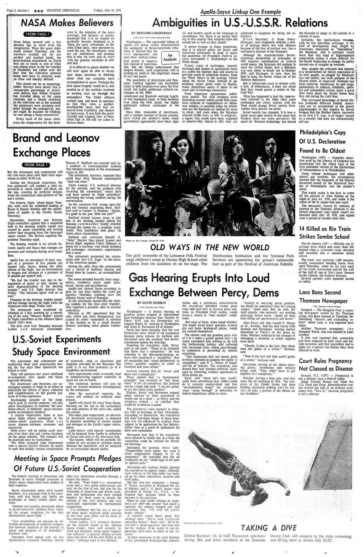 Houston Chronicle inside page - July 18, 1975 - section 1, page 6. NASA Makes Believers. Brand and Leonov Exchange Places. Apollo-Soyuz Linkup One Example. Ambiguities in U.S.-U.S.S.R. Relations. U.S.-Soviet Experiments Study Space Environment. Meeting in Space Prompts Pledges Of Future U.S.-Soviet Cooperation