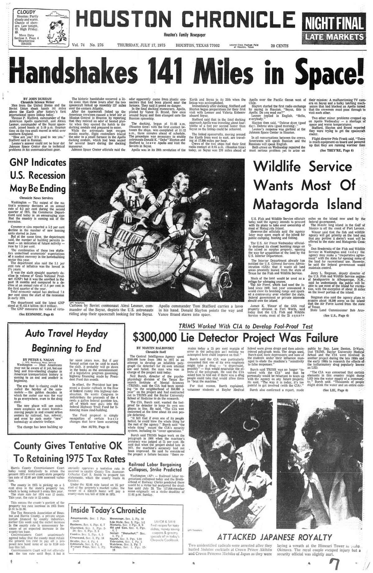 Houston Chronicle front page - July 17, 1975 - section 1, page 1. (APOLLO SOYUZ) Handshakes 141 Miles in Space!