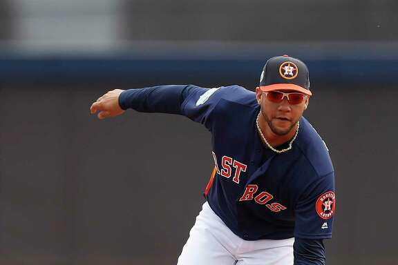 Houston Astros Yulieski Gurriel (10) catches a ground ball at first base during spring training at The Ballpark of the Palm Beaches, in West Palm Beach, Florida, Saturday, February 18, 2017. ( Karen Warren / Houston Chronicle )