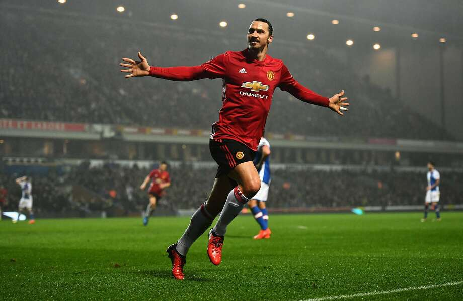 Manchester United's Zlatan Ibrahimovic celebrates his the game-winner at Blackburn in the FA Cup. Photo: Dan Mullan, Getty Images