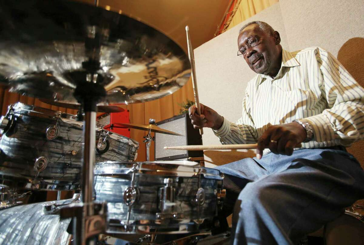 In this Sept. 4, 2015 photo, legendary drummer Clyde Stubblefield plays a set on the drums at Sosonic studio before a performance to raise money for a scholarship fund established in his name in Madison, Wis. Stubblefield, a drummer for James Brown who created one of the most widely sampled drum breaks ever, died Saturday, Feb. 18, 2017, at age 73. His wife, Jody Hannon, told The Associated Press that Stubblefield died of kidney failure at a Madison, Wis., hospital. (Amber Arnod/Wisconsin State Journal via AP)