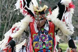 Marcus Thompson performs on the grounds of the State Capitol in Austin for Alabama-Coushatta Tribe of Texas Day on Feb. 15.