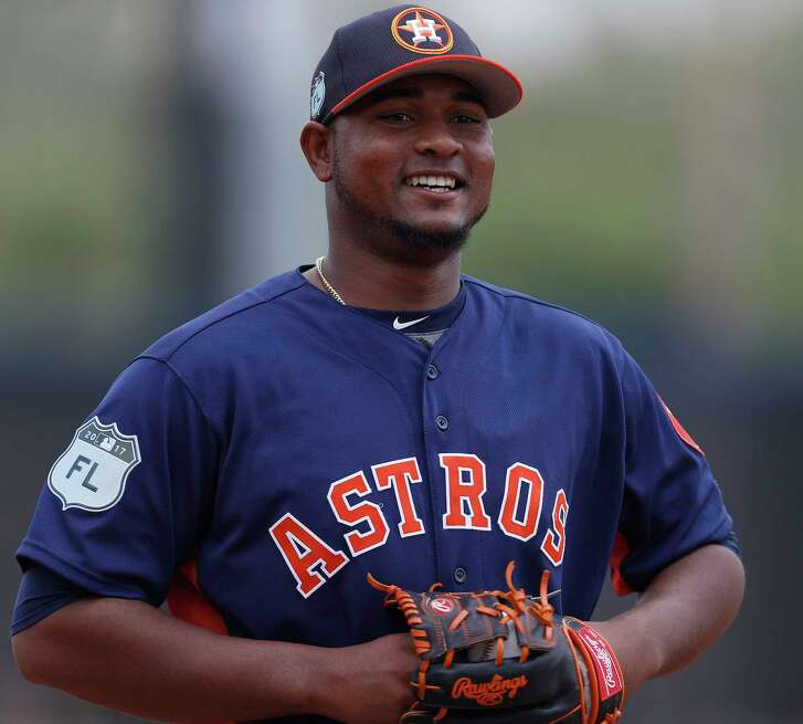 Houston Astros relief pitcher Michael Feliz (45) smiles during spring training at The Ballpark of the Palm Beaches, in West Palm Beach, Florida, Sunday, February 19, 2017. ( Karen Warren / Houston Chronicle )