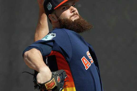 Houston Astros starting pitcher Dallas Keuchel throws off the mound during spring training at The Ballpark of the Palm Beaches, in West Palm Beach, Florida, Friday, February 17, 2017. ( Karen Warren / Houston Chronicle )