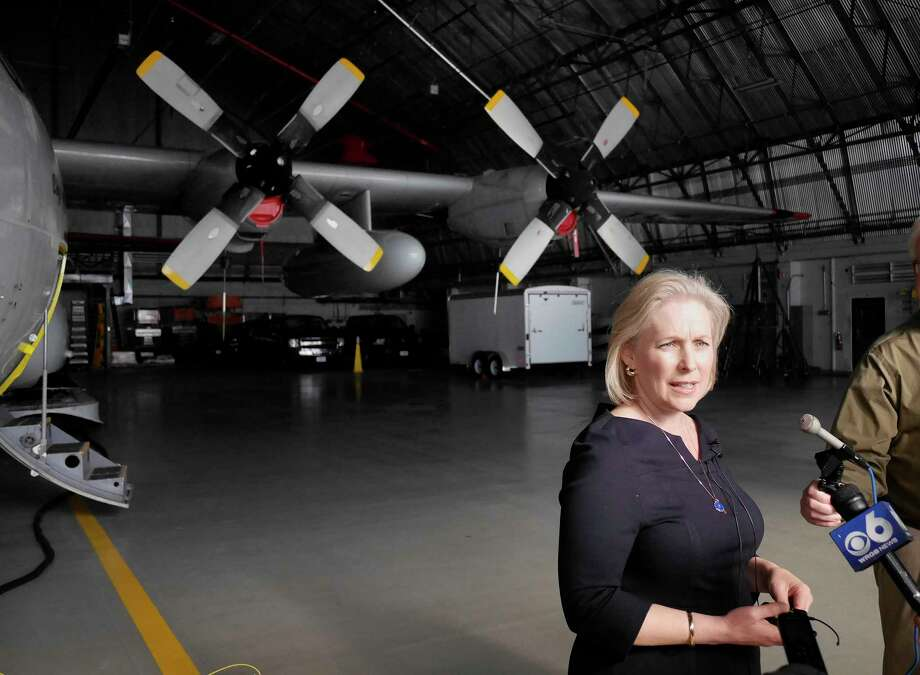 Standing near an LC-130 airplane, Senator Kirsten Gillibrand talks to members of the media during a tour of the 109th Airlift Wing at Stratton Air Base on Sunday, Feb. 19, 2017, in Schenectady, N.Y.     (Paul Buckowski / Times Union) Photo: PAUL BUCKOWSKI / 20039730A