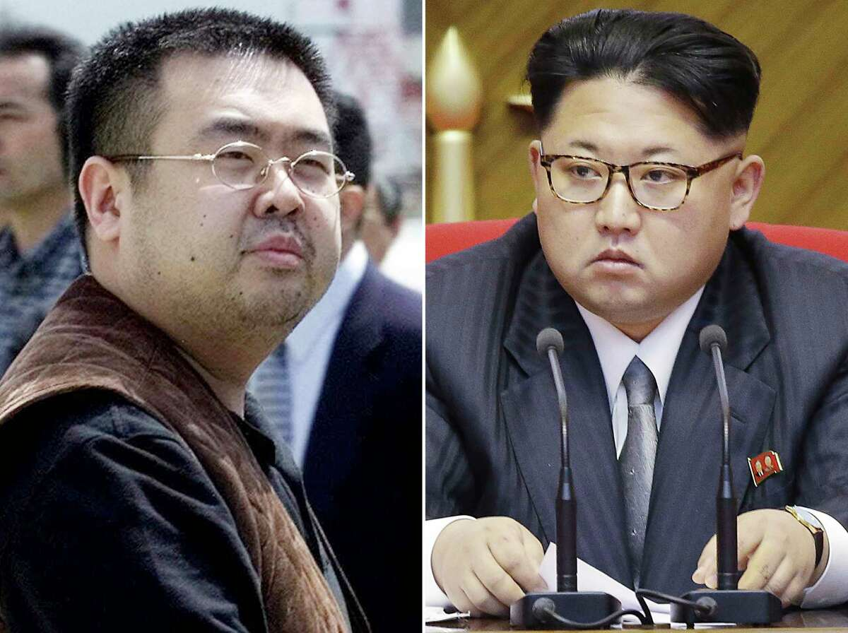 FILE - This combination of file photos shows Kim Jong Nam, left, the estranged half-brother of North Korean leader Kim Jong Un, in Narita, Japan, on May 4, 2001, and North Korean leader Kim Jong Un on May 9, 2016, in Pyongyang. Speculation that Kim Jong Nam was killed by two young female agents at the busy Kuala Lumpur airport last week left even the most seasoned toxicology sleuths shaking their heads. If a chemical agent really was to blame, finding it may be the hardest part of all. (AP Photos/Shizuo Kambayashi, Wong Maye-E, File) ORG XMIT: TKHO101