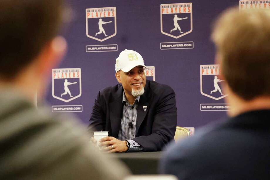 Executive Director of the Major League Players Association Tony Clark answers questions at a news conference Sunday, Feb. 19, 2017, in Phoenix. (AP Photo/Morry Gash) ORG XMIT: AZMG105 Photo: Morry Gash / Copyright 2017 The Associated Press. All rights reserved.