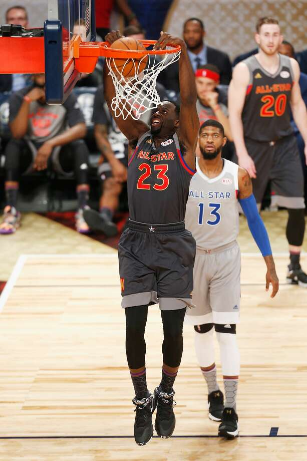 NEW ORLEANS, LA - FEBRUARY 19:  Draymond Green #23 of the Golden State Warriors dunks the ball in the first half of the 2017 NBA All-Star Game at Smoothie King Center on February 19, 2017 in New Orleans, Louisiana. NOTE TO USER: User expressly acknowledges and agrees that, by downloading and/or using this photograph, user is consenting to the terms and conditions of the Getty Images License Agreement.  (Photo by Jonathan Bachman/Getty Images) Photo: Jonathan Bachman/Getty Images