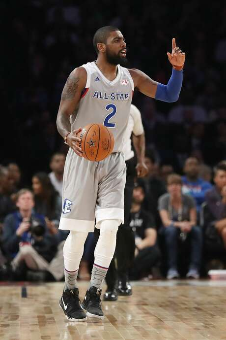 NEW ORLEANS, LA - FEBRUARY 19:  Kyrie Irving #2 of the Cleveland Cavaliers gestures in the first half of the 2017 NBA All-Star Game at Smoothie King Center on February 19, 2017 in New Orleans, Louisiana. NOTE TO USER: User expressly acknowledges and agrees that, by downloading and/or using this photograph, user is consenting to the terms and conditions of the Getty Images License Agreement.  (Photo by Ronald Martinez/Getty Images) Photo: Ronald Martinez/Getty Images