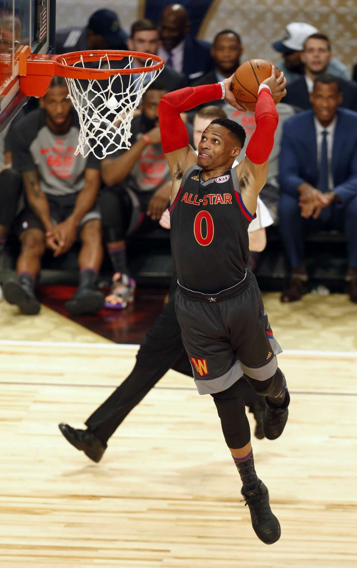 Western Conference guard Russell Westbrook, of the Oklahoma City Thunder, dunks during the first half of the NBA All-Star Game in New Orleans, Sunday, Feb. 19, 2017. (AP Photo/Max Becherer)