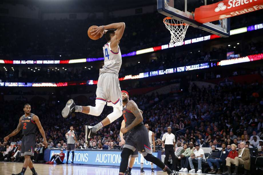 Eastern Conference small forward Giannis Antetokounmpo of the Milwaukee Bucks (34) slam dunks during the first half of the NBA All-Star basketball game in New Orleans, Sunday, Feb. 19, 2017. (AP Photo/Gerald Herbert) Photo: Gerald Herbert/Associated Press