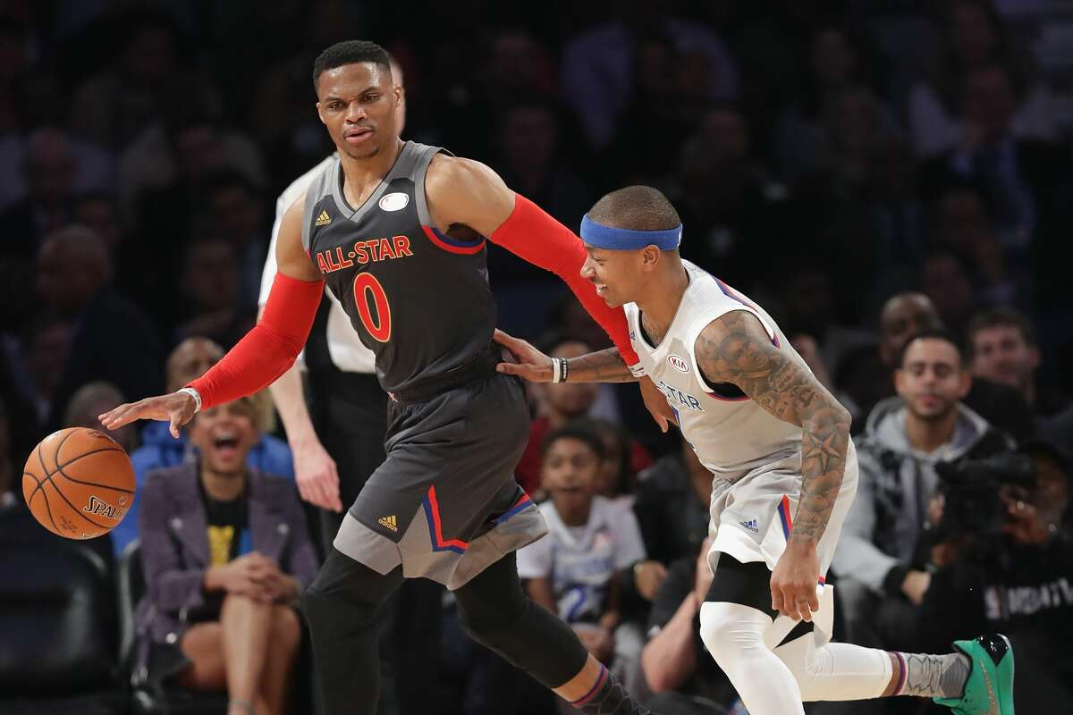 NEW ORLEANS, LA - FEBRUARY 19: Russell Westbrook #0 of the Oklahoma City Thunder dribbles the ball against Isaiah Thomas #4 of the Boston Celtics in the first half of the 2017 NBA All-Star Game at Smoothie King Center on February 19, 2017 in New Orleans, Louisiana. NOTE TO USER: User expressly acknowledges and agrees that, by downloading and/or using this photograph, user is consenting to the terms and conditions of the Getty Images License Agreement. (Photo by Ronald Martinez/Getty Images)