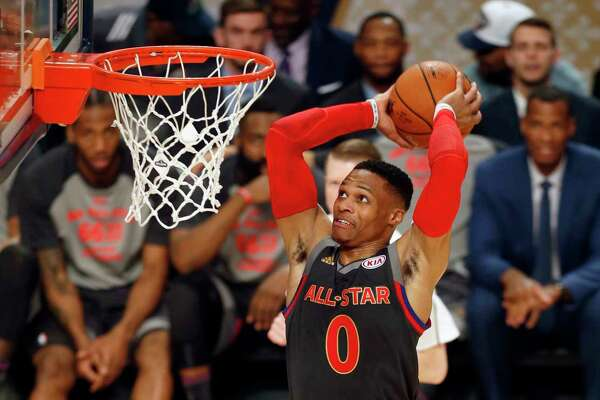 Russell Westbrook was 16-of-26 from the field on the way to netting 41 points but came up short of winning his third consecutive All-Star Game MVP award.