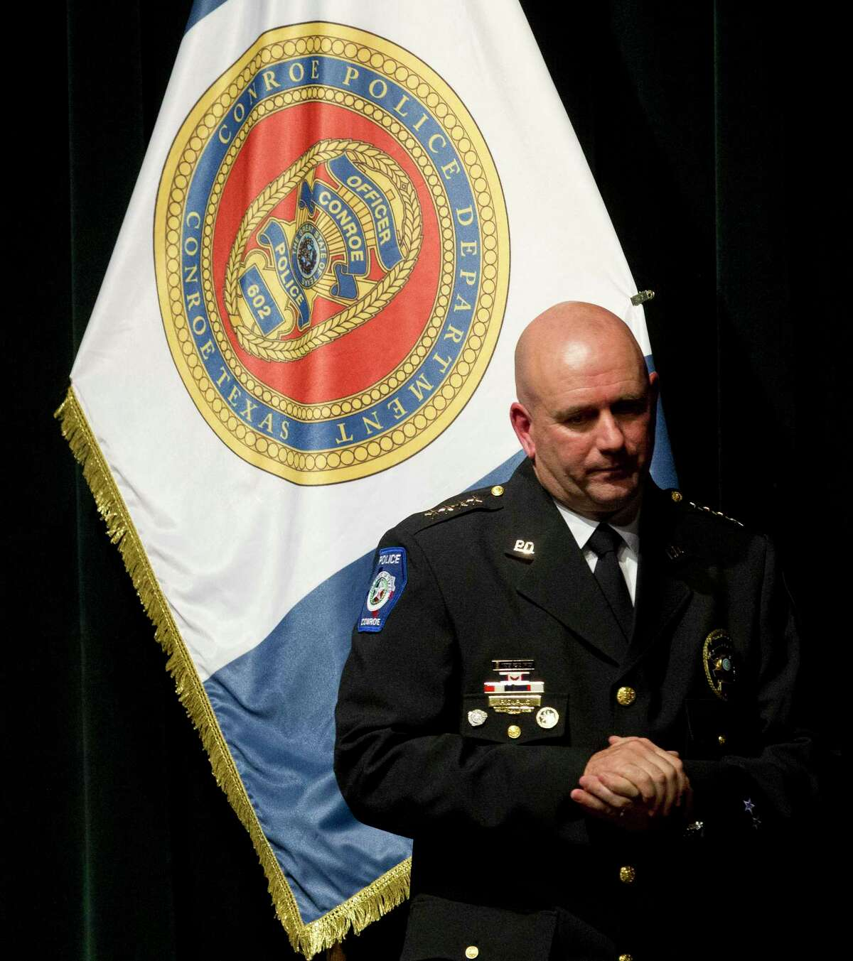 Conroe Police Chief Philip Dupuis is seen during a graduation ceremony for the Conroe Police Department at the Owen Theater Thursday, Feb. 16, 2017, in Conroe.