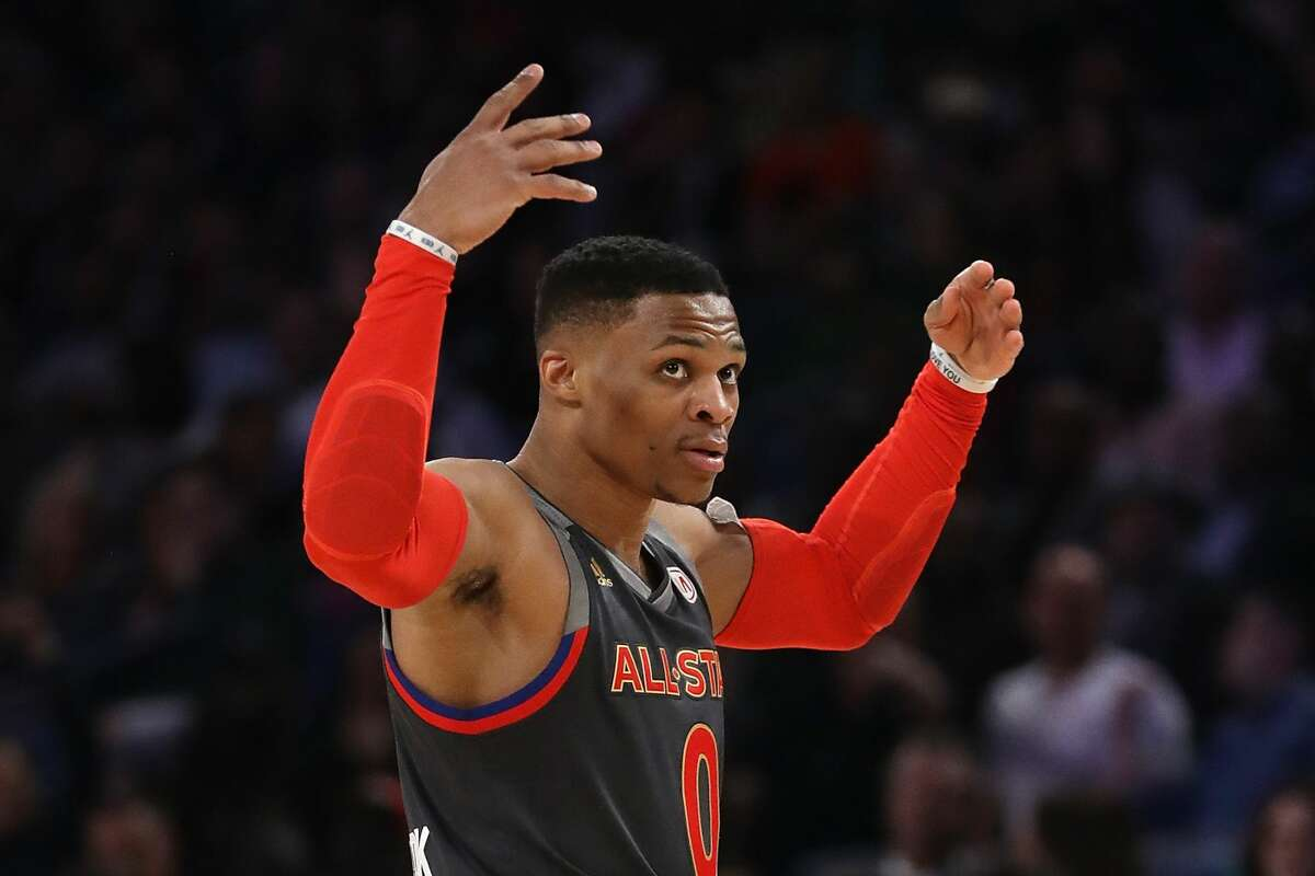 NEW ORLEANS, LA - FEBRUARY 19: Russell Westbrook #0 of the Oklahoma City Thunder reacts in the second half of the 2017 NBA All-Star Game at Smoothie King Center on February 19, 2017 in New Orleans, Louisiana. NOTE TO USER: User expressly acknowledges and agrees that, by downloading and/or using this photograph, user is consenting to the terms and conditions of the Getty Images License Agreement. (Photo by Ronald Martinez/Getty Images)