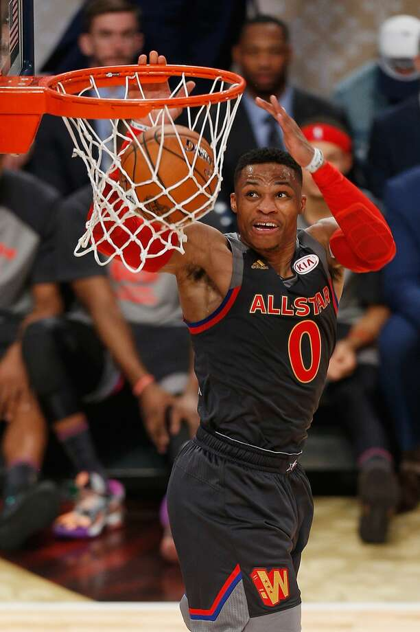 NEW ORLEANS, LA - FEBRUARY 19:  Russell Westbrook #0 of the Oklahoma City Thunder dunks the ball in the first half of the 2017 NBA All-Star Game at Smoothie King Center on February 19, 2017 in New Orleans, Louisiana. NOTE TO USER: User expressly acknowledges and agrees that, by downloading and/or using this photograph, user is consenting to the terms and conditions of the Getty Images License Agreement.  (Photo by Jonathan Bachman/Getty Images) Photo: Jonathan Bachman/Getty Images