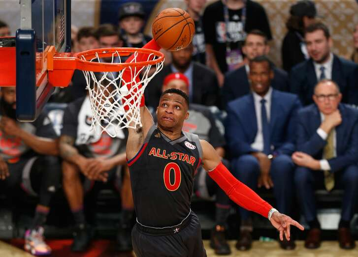 NEW ORLEANS, LA - FEBRUARY 19:  Russell Westbrook #0 of the Oklahoma City Thunder dunks the ball in the first half of the 2017 NBA All-Star Game at Smoothie King Center on February 19, 2017 in New Orleans, Louisiana. NOTE TO USER: User expressly acknowledges and agrees that, by downloading and/or using this photograph, user is consenting to the terms and conditions of the Getty Images License Agreement.  (Photo by Jonathan Bachman/Getty Images)