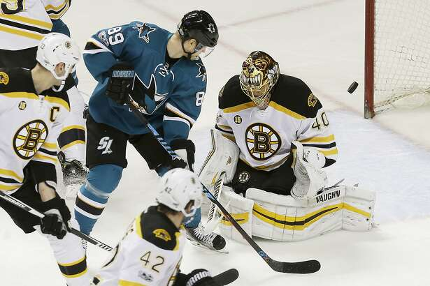 Boston Bruins goalie Tuukka Rask (40), from Finland, defends a deflection by San Jose Sharks left wing Mikkel Boedker (89), from Denmark, during the first period of an NHL hockey game in San Jose, Calif., Sunday, Feb. 19, 2017. (AP Photo/Jeff Chiu)