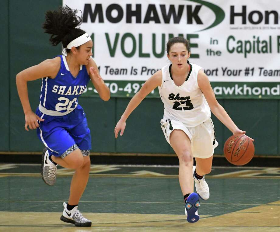 Shaker's Shyla Sanford guards Shenendehowa's Cameron Tooley during a basketball game at Shenendehowa High School on Tuesday, Feb. 7, 2017 in Clifton Park, N.Y. (Lori Van Buren / Times Union) Photo: Lori Van Buren / 20039619A