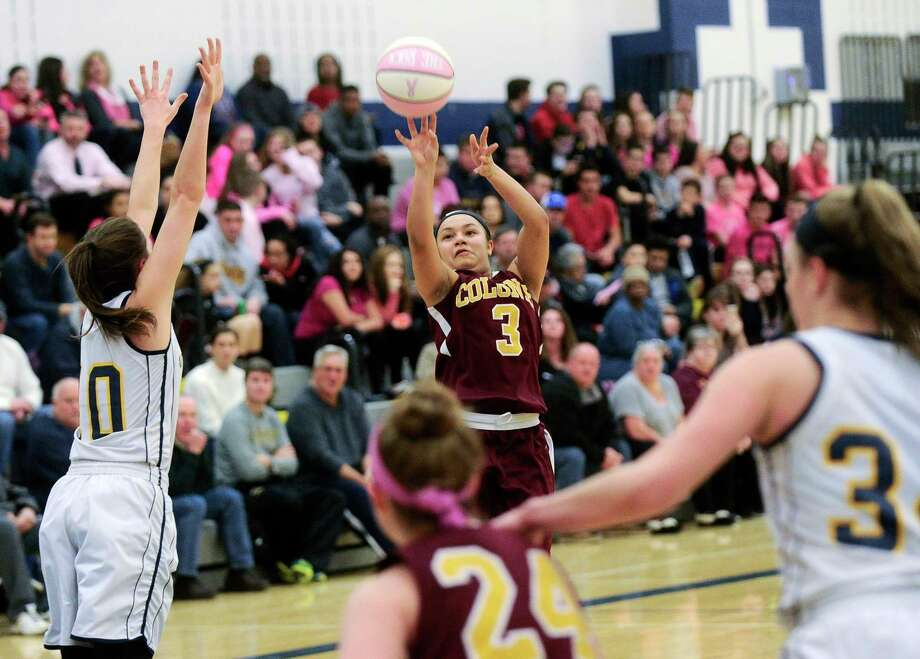Colonie's Aliyah Wright (3) puts up a shot against Averill Park during the first half of a girls' high school basketball game in Averill Park, N.Y., Friday, Jan. 6, 2017. (Hans Pennink / Special to the Times Union) ORG XMIT: HP108 Photo: Hans Pennink / Hans Pennink